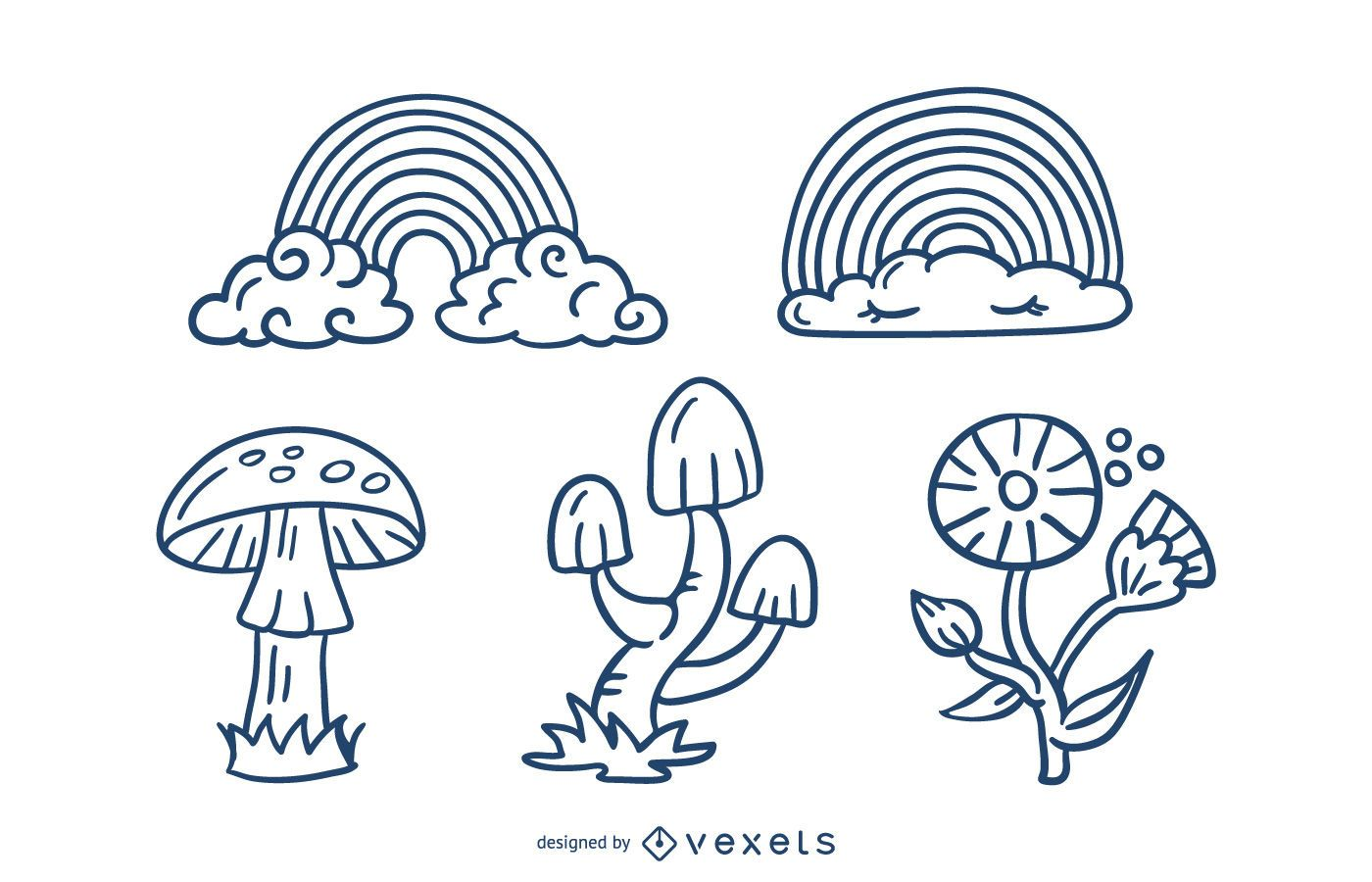 Cute Nature Elements Stroke Design Pack