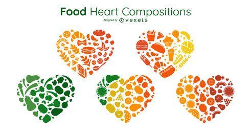 Conjunto de composições de coração de alimentos