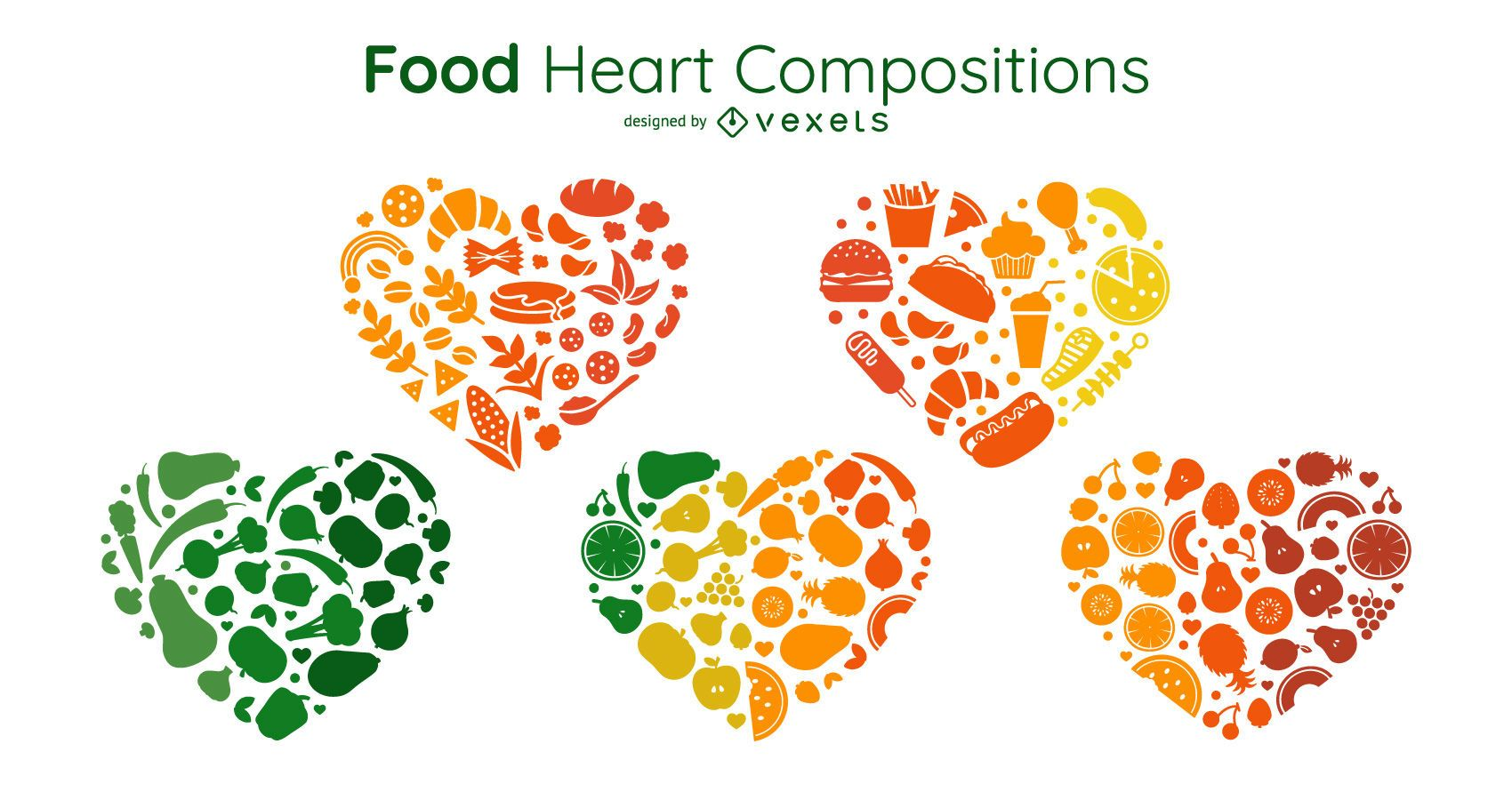 Food heart compositions set