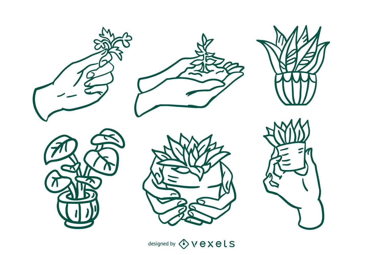 Paquete de ilustración de trazo de cuidado de plantas