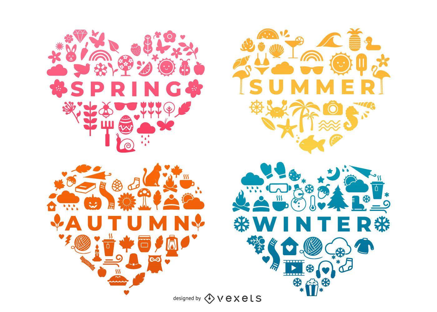 Seasons heart compositions set