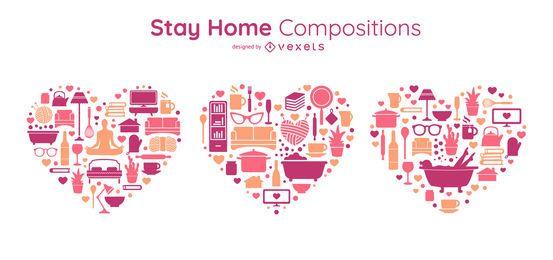 Conjunto de composições de coração de ficar em casa
