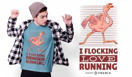 Design de camiseta de corrida Flamingo