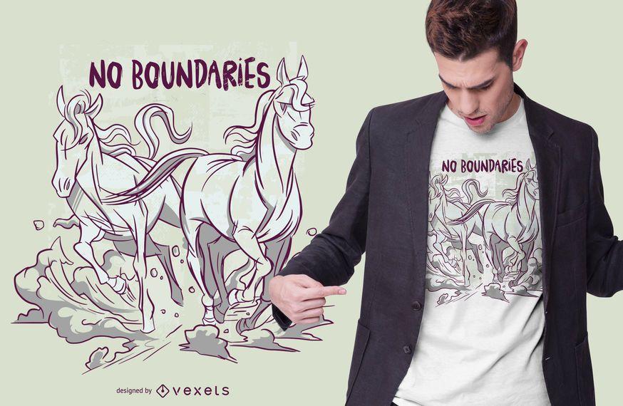 Running Horses Text T-shirt Design