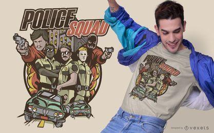 Diseño de camiseta de ilustración de escuadrón de policía