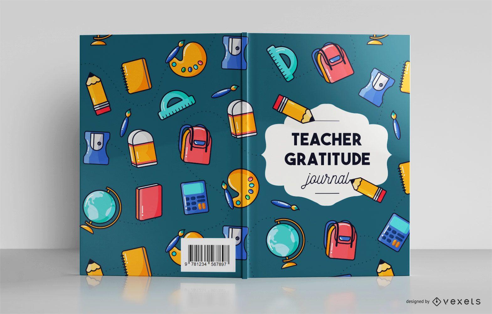 Diseño de portada de diario de gratitud de maestro de escuela