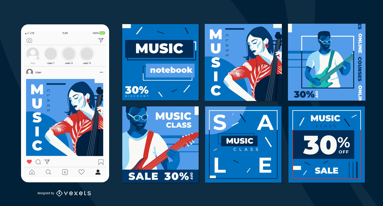 Conjunto de publicaciones de redes sociales de clases de música.