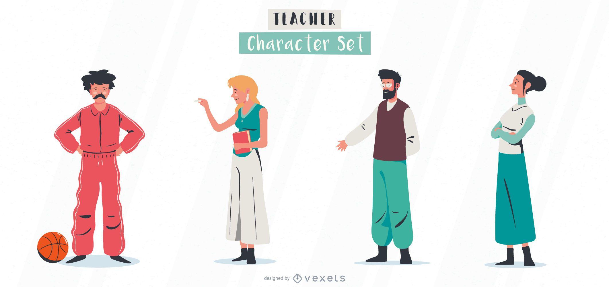 Conjunto de ilustração de personagens do professor
