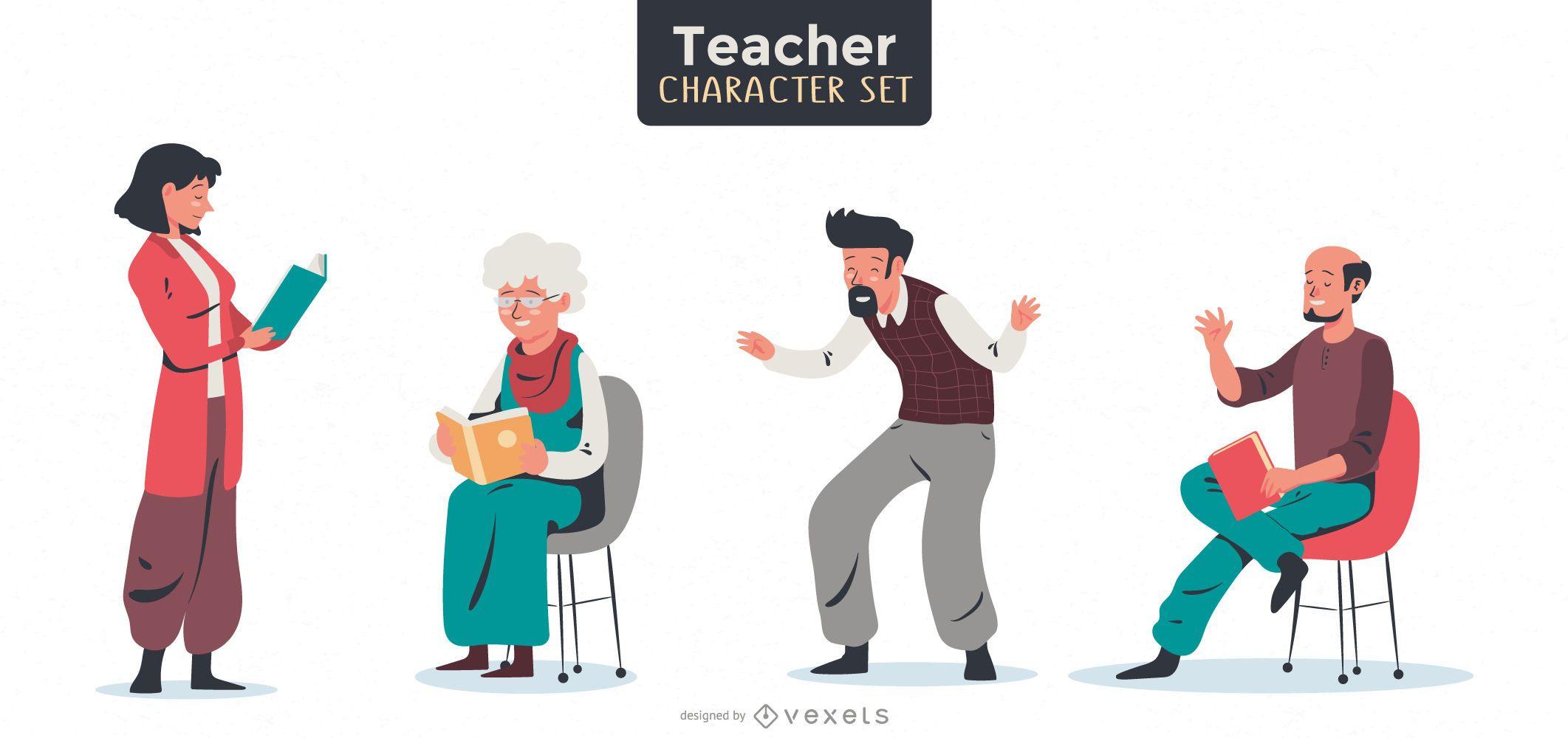 Pacote de design de professores e pessoas