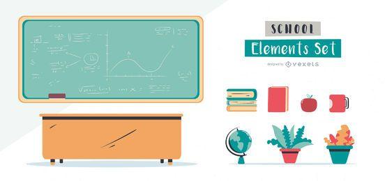 Conjunto de elementos ilustrados de la escuela