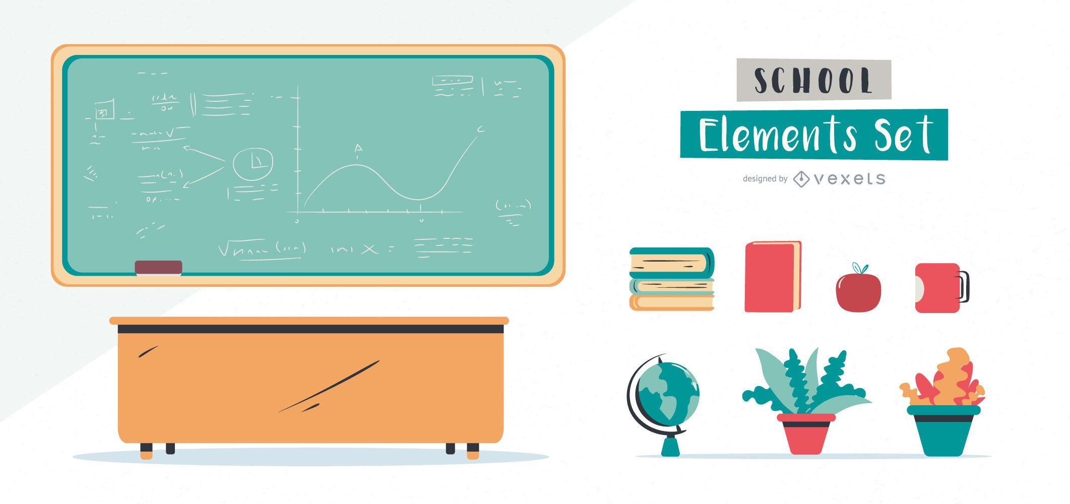School Illustrated Elements Set
