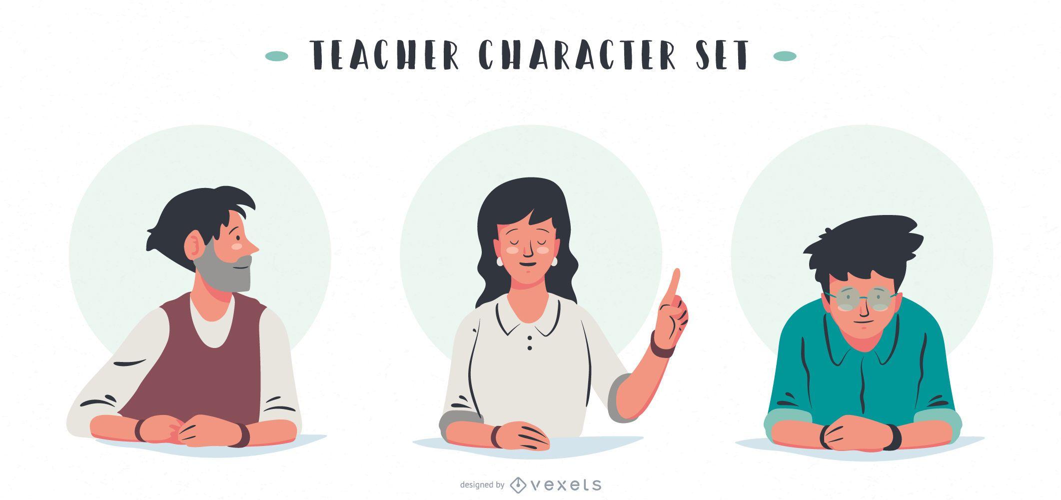 Conjunto de design de professores e pessoas
