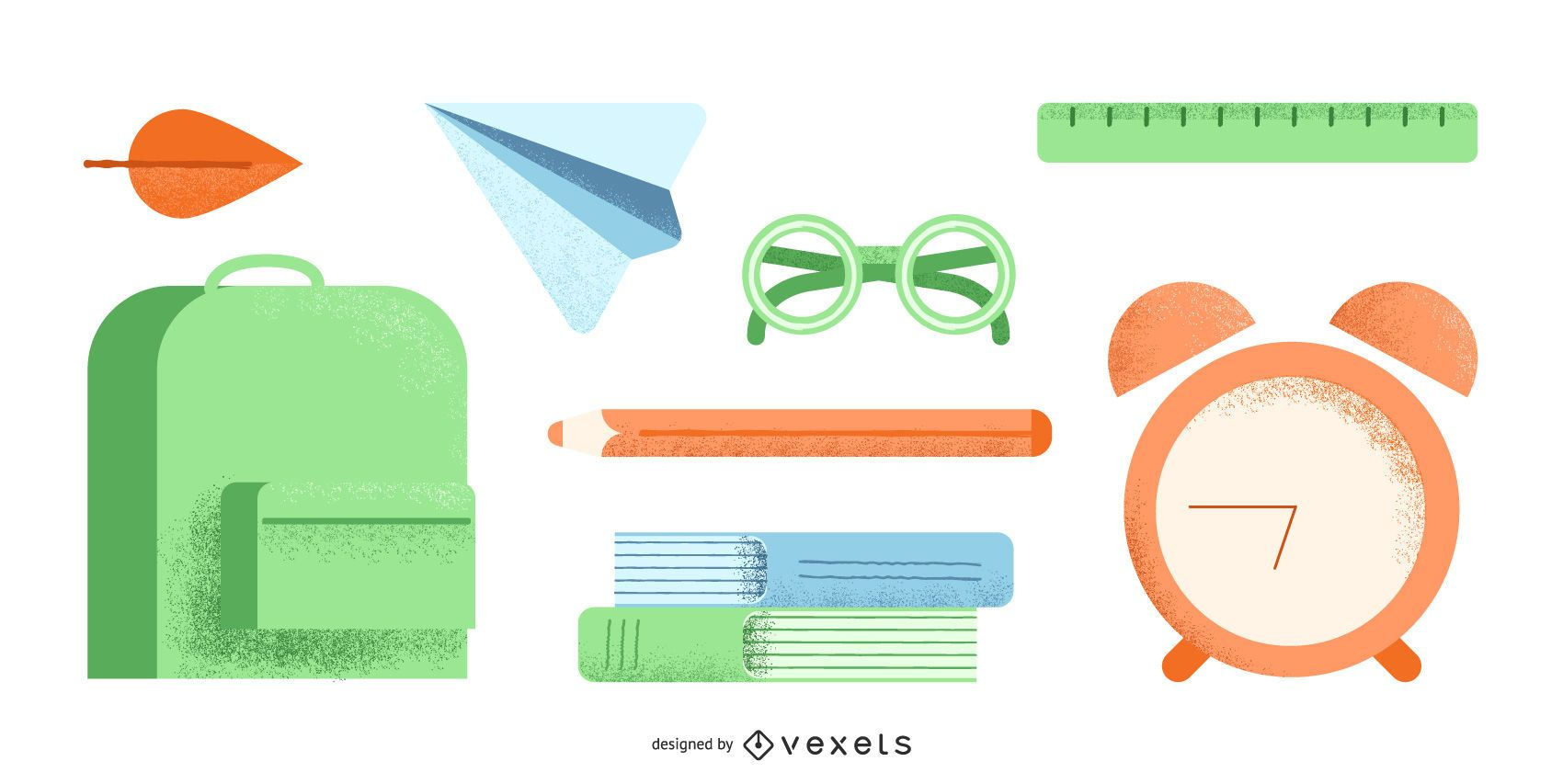 Conjunto de útiles escolares de regreso a la escuela.