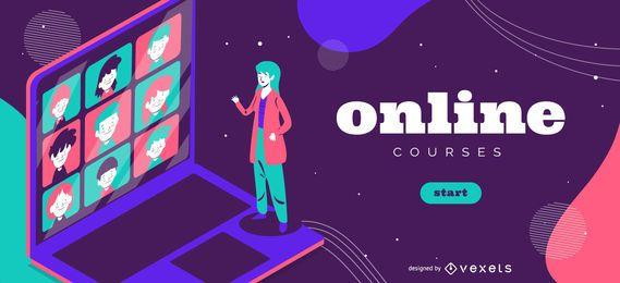 Plantilla de control deslizante del curso en línea