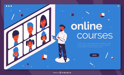Online courses education landing page