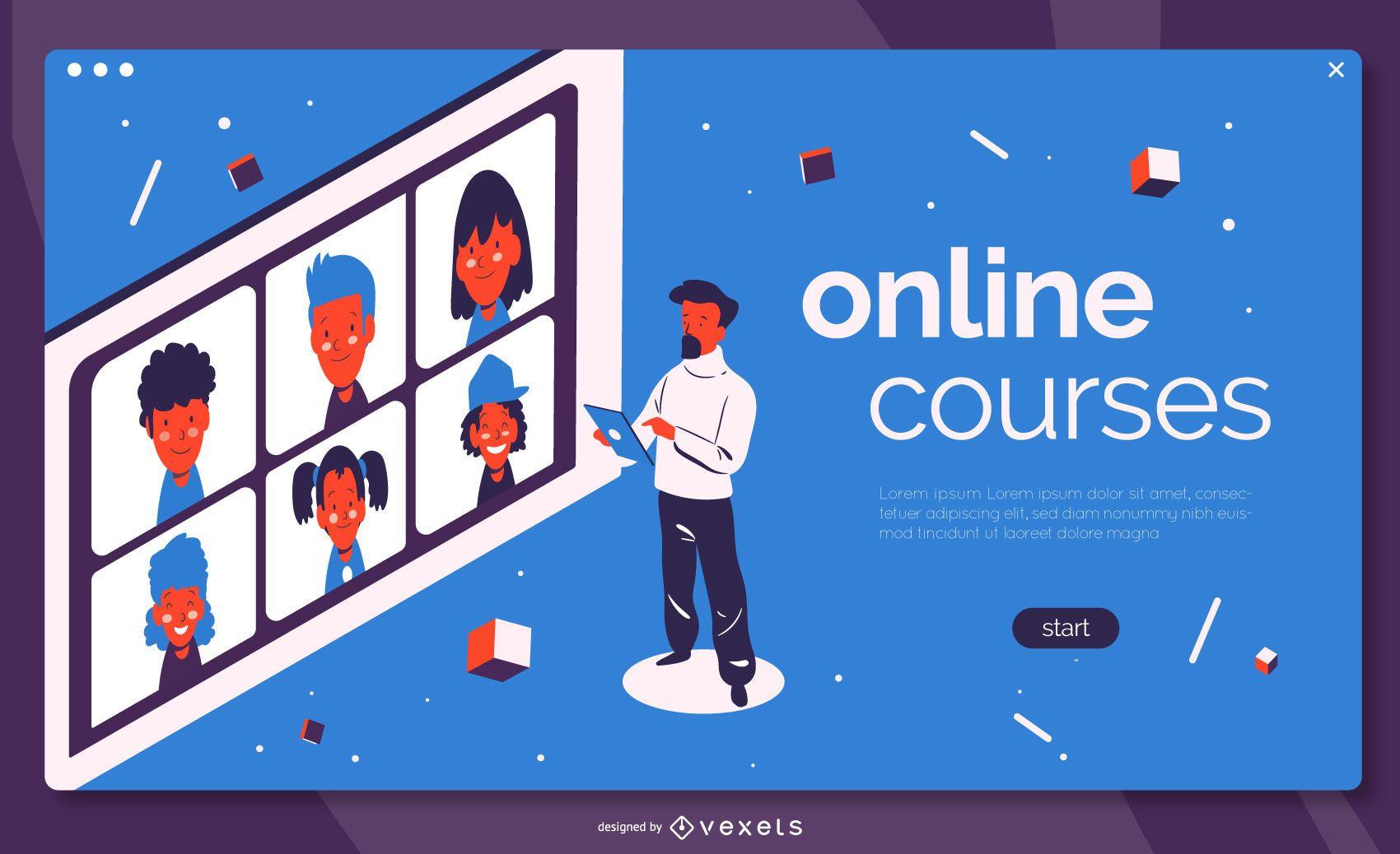 Online courses education landing page