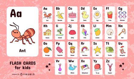 Conjunto de niños alfabeto tarjetas de vocabulario