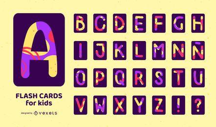 Conjunto de flashcard colorido do alfabeto