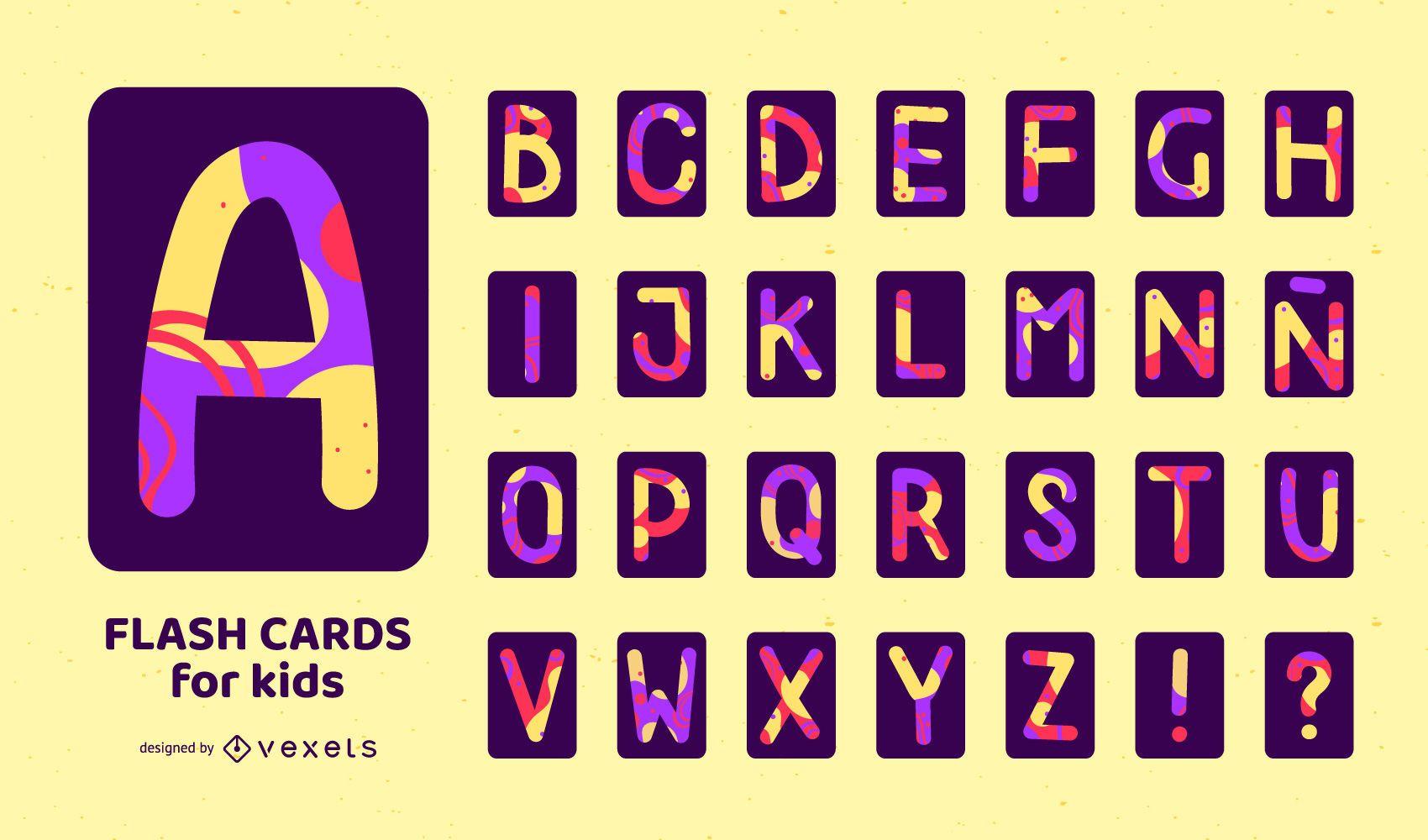 Alfabeto flashcard colorido conjunto