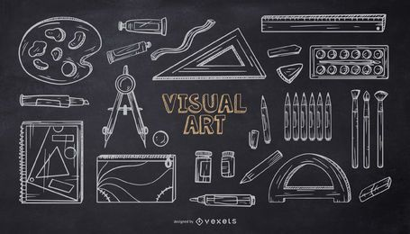 Pacote de design de giz do Art School Elements