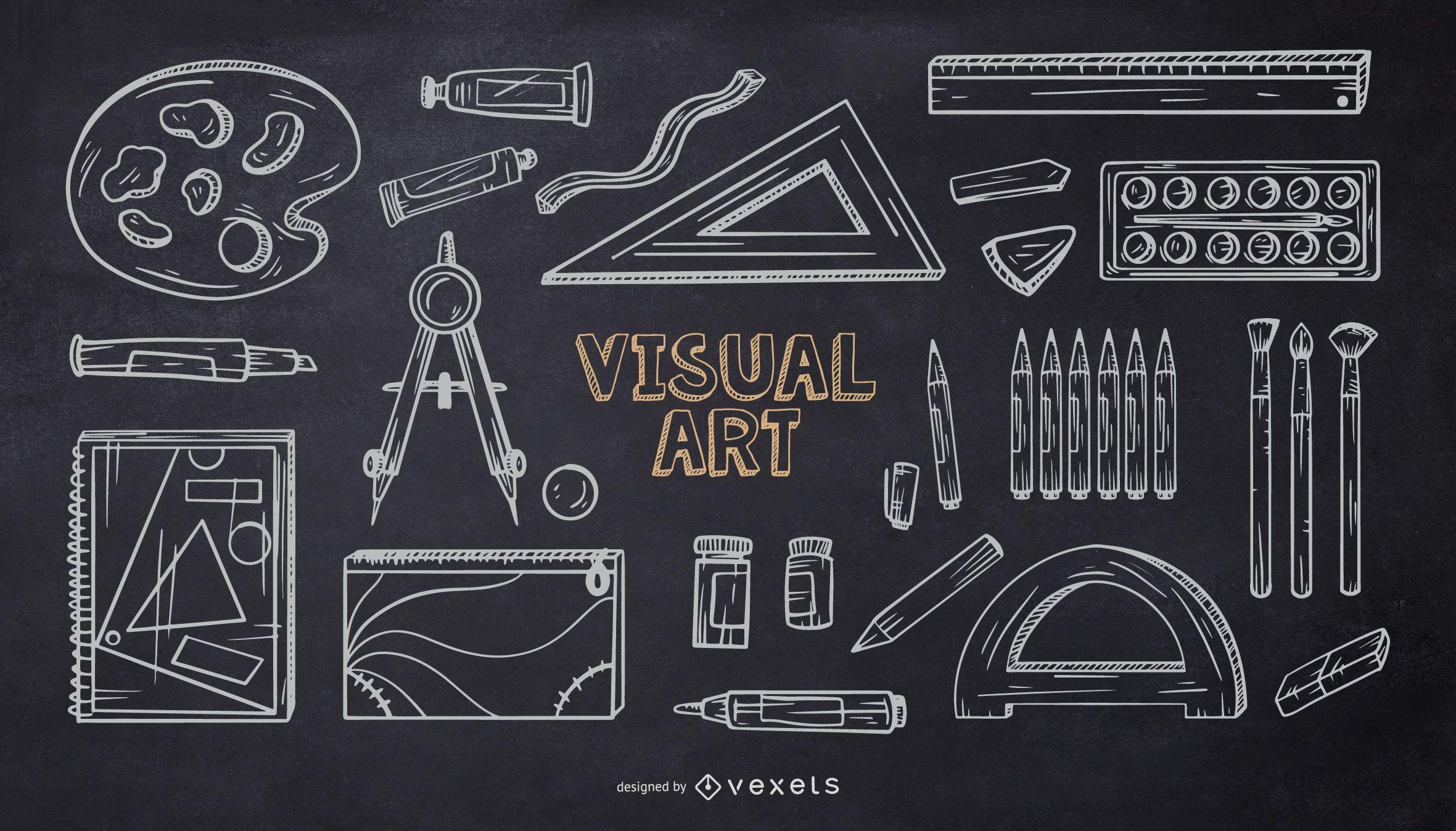 Paquete de diseño de tiza de elementos de la escuela de arte