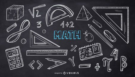Pacote de Doodle de Giz da Escola de Matemática