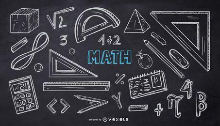 Pacote de Doodle de giz escolar de matemática