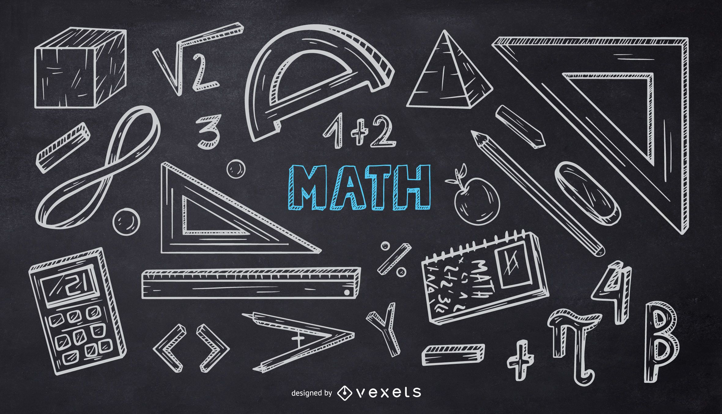 Paquete de Doodle de tiza de la escuela de matemáticas