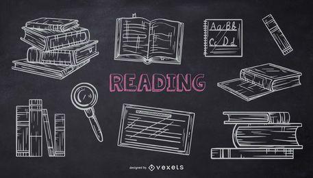 Pacote de Doodle de Giz da Escola de Leitura