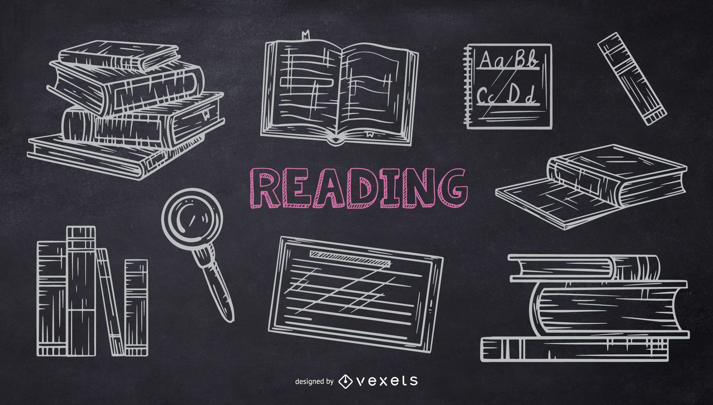 Paquete de Doodle de tiza de escuela de lectura