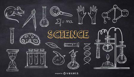 Pacote de Doodle de Giz da Escola de Ciências