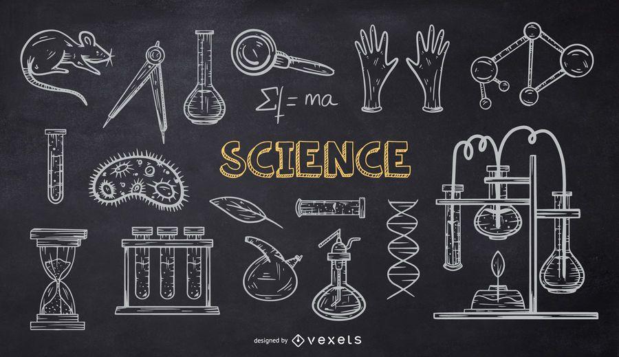 Paquete de Doodle de tiza de la escuela de ciencias