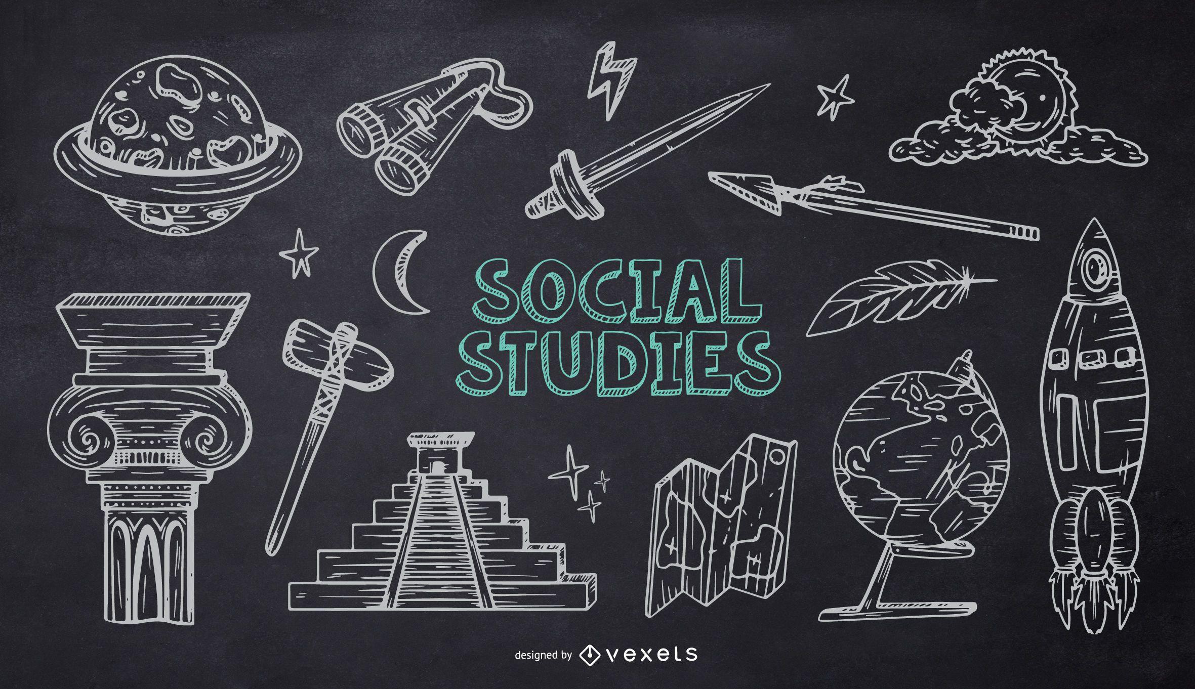 Paquete de Doodle de tiza de la escuela de estudios sociales