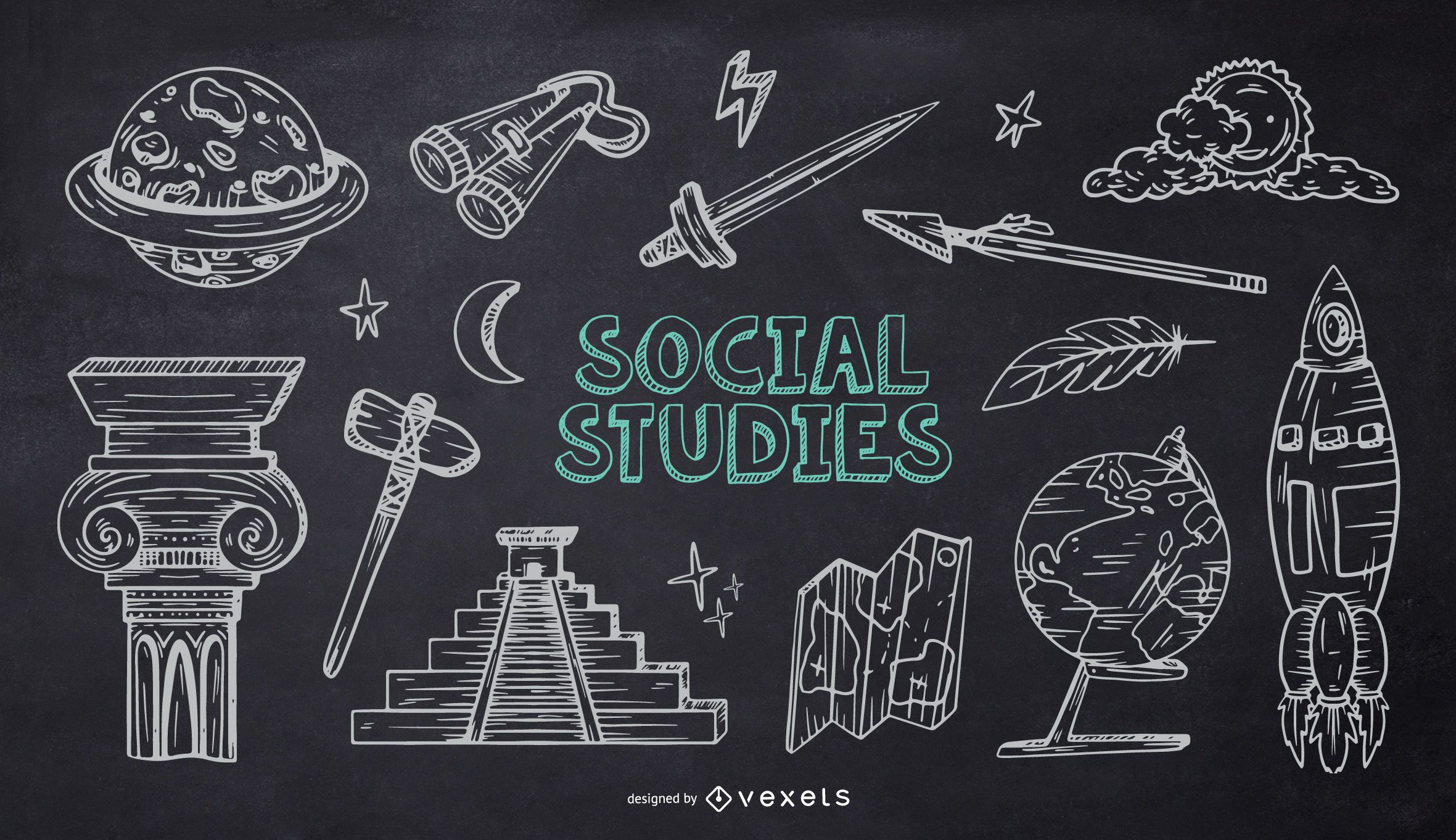 Social Studies School Chalk Doodle Pack