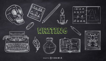 Writing School Chalk Doodle Pack