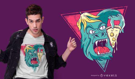 Design de camiseta de pizza de gorila