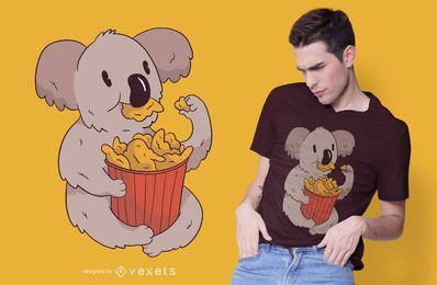 Diseño de camiseta de alitas de pollo koala