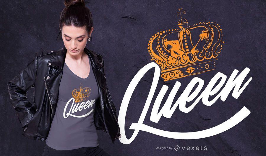 Design de t-shirt de letras de rainha