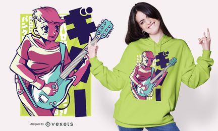 Diseño de camiseta de anime girl guitar
