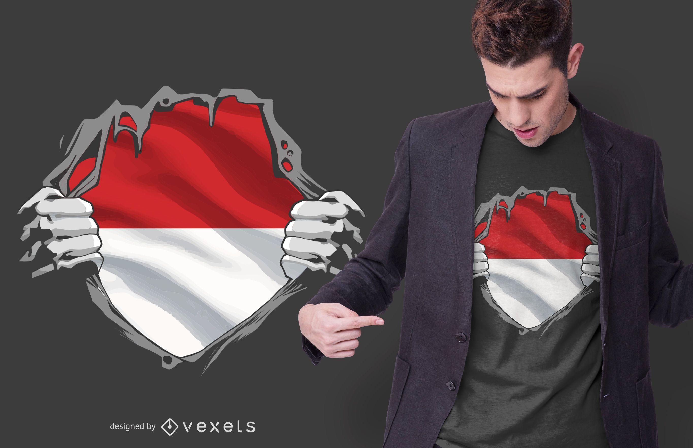 Diseño de camiseta de Indonesia