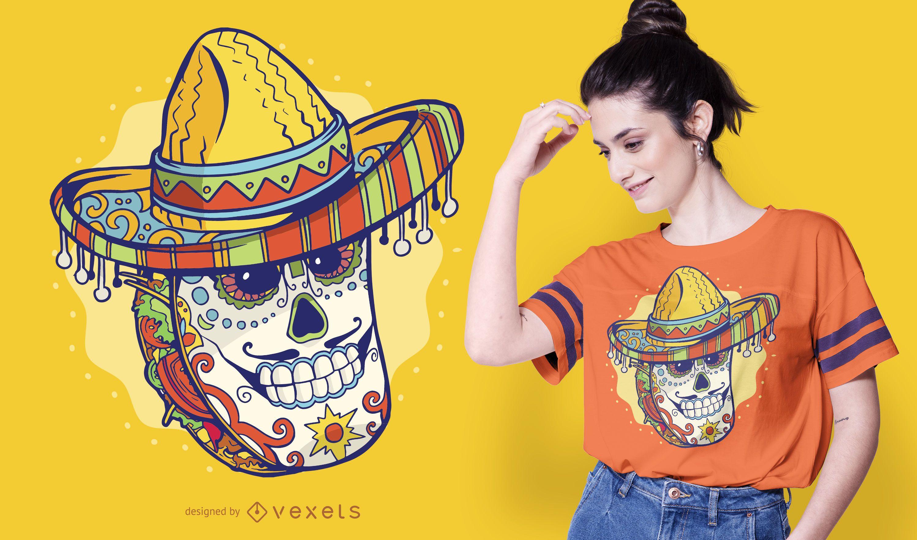 Diseño de camiseta de taco mexicano.