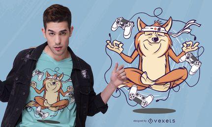 Diseño de camiseta meditando perro gamer
