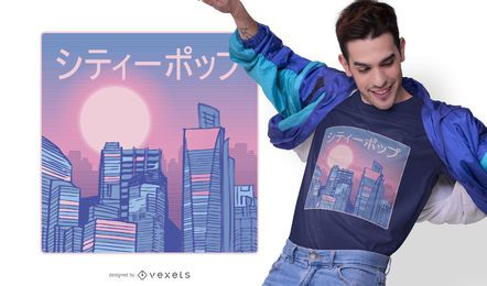 Diseño de camiseta city pop