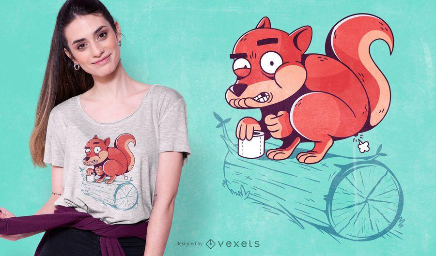 Diseño de camiseta de caca de ardilla