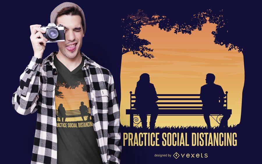 Pratique o design de camisetas de distanciamento social