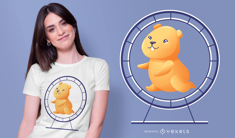 Diseño de camiseta de rueda de hámster.