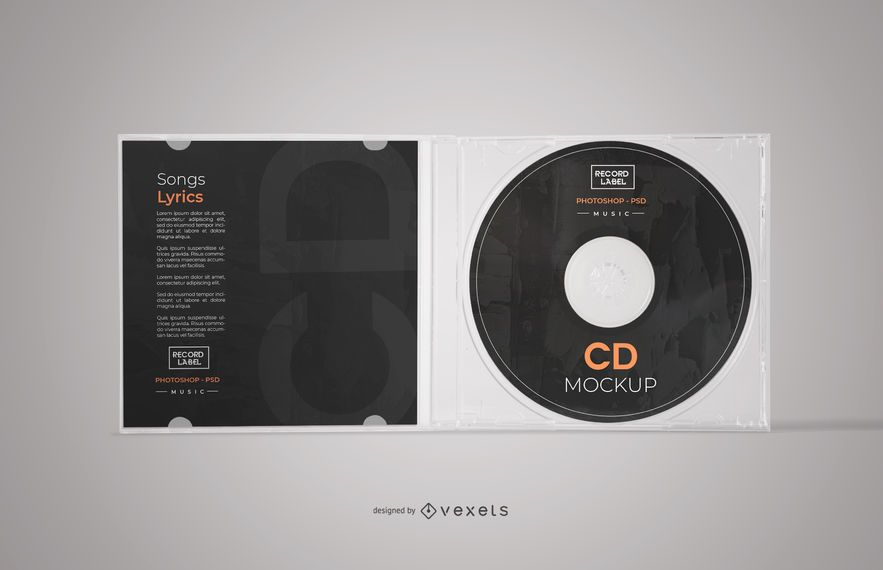 Maquete de caixa de CD aberta