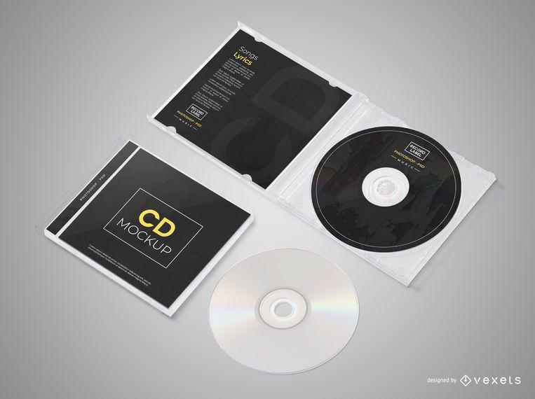 Conjunto de maquete de CD isométrico