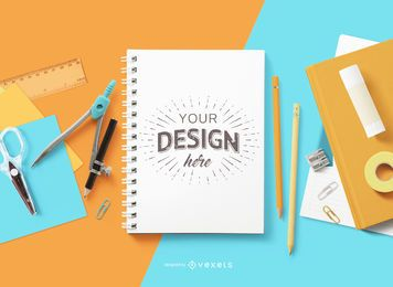 Back to school notebook mockup