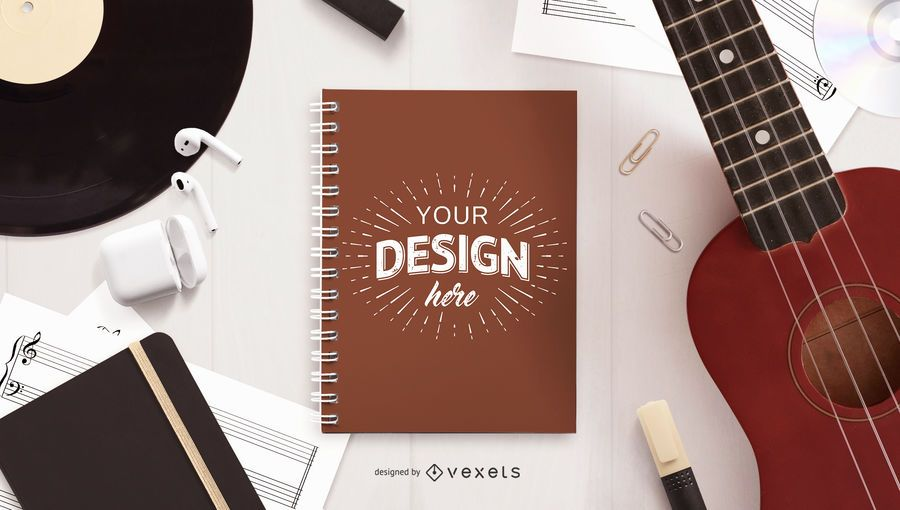 Notebook music mockup composition